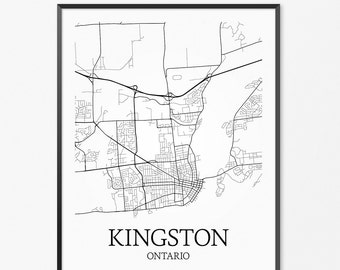 Kingston Map Art Print, Kingston Poster Map of Kingston Decor, Kingston City Map Art, Kingston Gift, Kingston Ontario Art Poster
