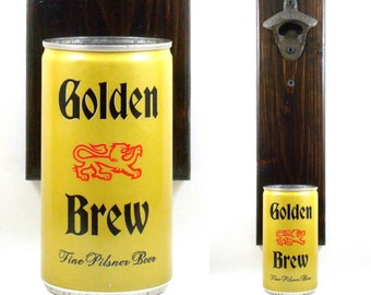 Wall Mounted Beer Bottle Opener With A Vintage Golden Brew Beer Can Cap Catcher - Birthday Or Groomsman Gift Idea Man Cave Barware Decor