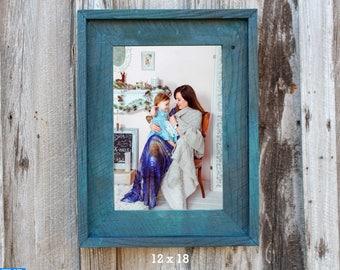 """The Post & Beam Hand Rubbed Teal 3.75""""--(All Sizes) -The Loft Signature Handcrafted Vintage Barn Wood Frames"""