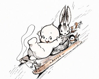 Kewpies Greeting Card - Kewpie Sled Rides with Bunny and Chickadee - Rose O'Neill