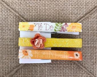 Set of 3 clothespins - Altered Embellished Wedding Favor Party Teacher