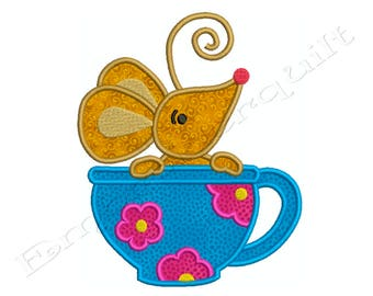 Mouse in a Tea Coffee Cup - Machine Applique Embroidery - Instant Digital Download