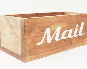 letter holder, wooden letter rack, mail box, post tray, hall tidy, hall decor, entryway caddy, rustic decor, desk decor, wood box