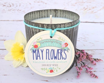 May Flowers Soy Wax Candle in 12 oz. Zinc Jar - Spring Candle, Floral Candle, Housewarming, Home, Hostess Gift