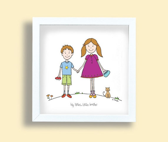 I Was A Son A Brother Like You A Younger: Big Sister Little Brother Art Print Kids Drawing Children