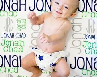 Monogram Baby Blanket- Boy Blanket- Personalized Baby Blanket- Swaddle Receiving Blanket- Baby Shower Gift