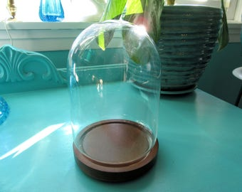 "Vintage Glass Dome Display Cloche with Base~Terrarium~7"" Tall Bell Jar Glass Dome~Garden Plant~Collectible Display"