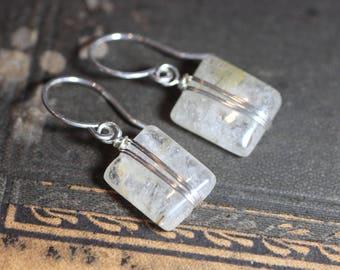 Rutilated Quartz Earrings Sterling Silver Wire Wrapped Earrings Gemstone Earrings
