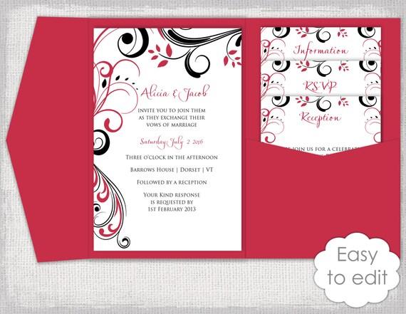 Pocket Invitation Template Diy Cherry Red And Black Pocketfold