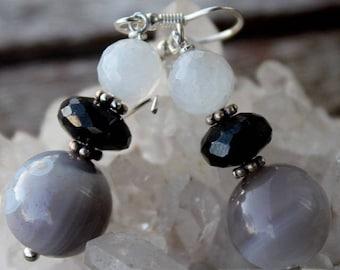 Botswana agate, black spinel, Moonstone and Silver earrings