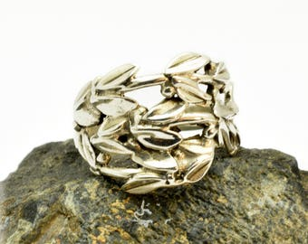 Branches silver ring wrap band sterling silver twig ring with leaves, botanical ring size 8.5