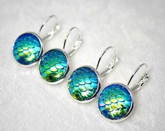 Dragon Earrings, Dragon Scale Jewellery, Silver Dangle Earrings, Fantasy Art, Blue Earrings, Green Earrings, Aqua Scale Earrings, Shimmer