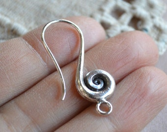 Hill Tribes Fine Silver 31mm French Hook Spiral Design 18 Gauge Earwire