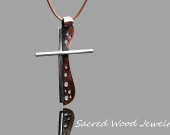 Copper Cross - Steel Cross - Stainless Steel Copper Cross - Stainless Steel Cross Necklace - Abstract Mans Cross Pendant -Art Cross Necklace