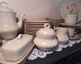 Vintage Stoneware The Classics Hearthside Somerset Pattern Retro Dinnerware Orange Floral Mix u0026 Match Everyday Dishes 1970u0027s & Everyday dishes | Etsy