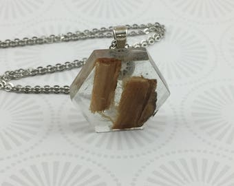 Hexagon Resin Necklace with Wood Chips