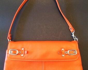 Orange Leather Purse, Halloween Purse, Small Evening Bag, Small Wrist Purse, Vintage Handbag, Ladies Purse, Prom Purse, Vintage Leather Bag