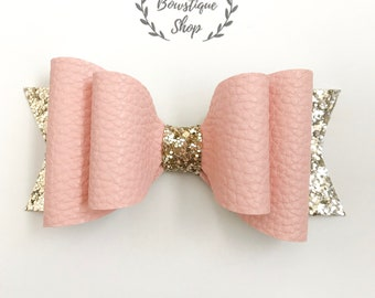 Pink Double Faux Leather/Gold Glitter Bow