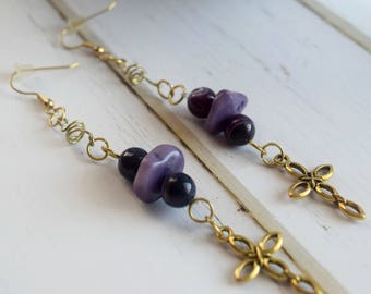 Purple Earrings With Cross, Gold Cross Charm, Christian Jewelry, Jewelry Earrings With Gold Cross, Cross Jewelry,