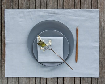 Linen Placemat And Napkins set, Classic Table Linens Set, Softened Linen Napkin, Blue Table Linens, Linen Place Mats, Washed Placemats