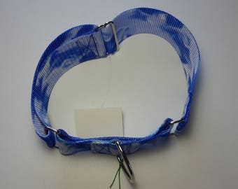 Large Blue/White swirl Martingale collar