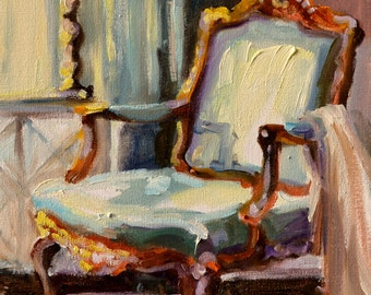 FRANSE STOEL, Art Print of Original painting,French chair