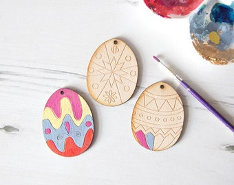 Paint Your Own Easter Eggs, Set of 3, Easter Activities for Kids, Easter Decoration for Kids, Egg Hunting, Unpainted Wooden Eggs, DIY