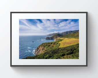 View of mountains along the Pacific Coast, in Big Sur, California   Photo Print, Metal, Canvas, Framed.