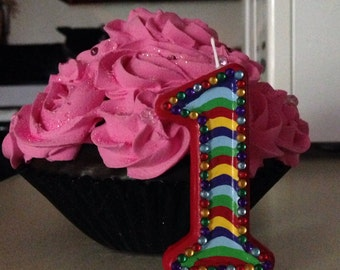 3 inch Blingy rainbow birthday candle - any numbers