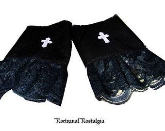 Gothic  Lolita CROSS  lace wrist Cuffs Goth Corset Egl Black