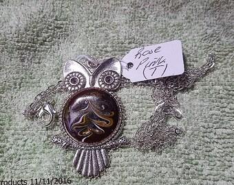 Owl Pendant Rose Pink