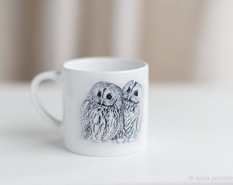 Owl lover cup Small coffee cup with two owls Gift from woodland Owl gift Kitchen art Small cup for children Toddler tea cup Kid cup