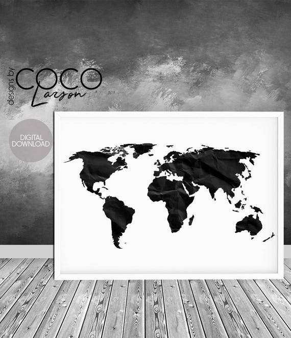 World map print world map poster black and white large gumiabroncs Choice Image