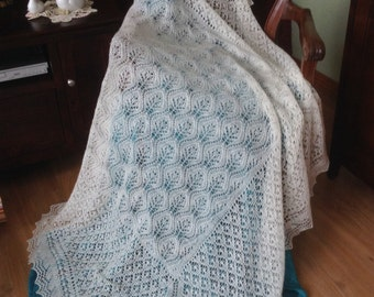 Hand Knitted The Ogee Baby Shawl  2 ply Made to order