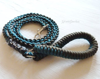 Bungee Dog Leash : Braided Shock Cord Paracord Handle 4 to 6 feet length for small dogs chihuahuas pretty teal olive
