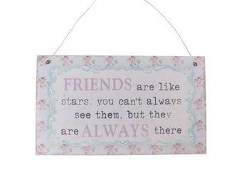 Vintage Lace Friends Quote Plaque