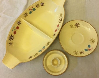 Vintage Franciscan Larkspur Dinnerware Divided Tray, Saucers and Candeholder, Mid Century Dishes