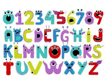 50% OFF Monster Letters & Numbers - Set of 39 - Monster Clip Art - Letters - Numbers - Monster Party - Monster Theme - Scrapbook