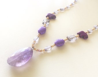 Amethyst Crystal Pendant necklace (Purple/Gold w Elephant Accents)