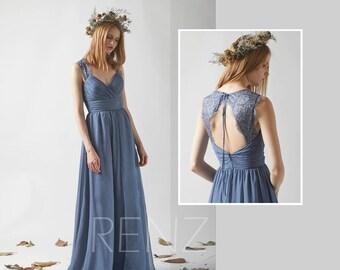 Bridesmaid Dress Dark Steel Blue Chiffon Dress,Wedding Dress,Ruched V Neck Maxi Dress,Lace Illusion Open Back A Line Evening Dress(L230B)