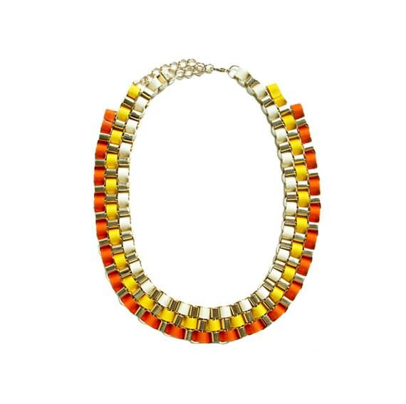 Color Block Box Chain Necklace - Orange