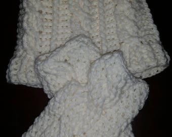 Hand crocheted cable hat and fingerless gloves