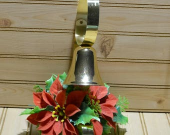 Vintage Christmas Metal Door Hanger Decor Bell Ringer Fuzzy Flocked Poinsettias Plastic Green Leaves Holiday Decoration Collectible