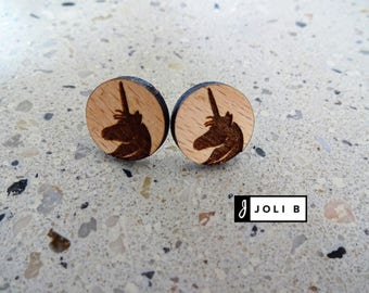 Wood - lightweight - Unicorn - Earrings - Studs earrings - studs