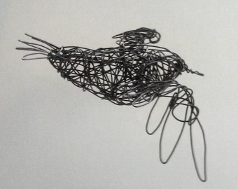 Flying Bird Sculpture - Wire Bird Art - One of a Kind - FLYING SONG