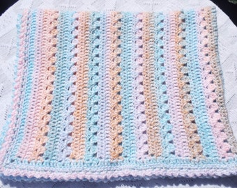 baby blanket, crochet blanket, crochet throw, small blanket, wool blanket, knitted blanket, pastel baby blanket, baby throw, nursery bedding