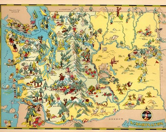 1930's Vintage Washington Picture Map State Cartoon Map Print Gallery Wall Art Home Decor Map Collector Gift for Traveler Wedding RT
