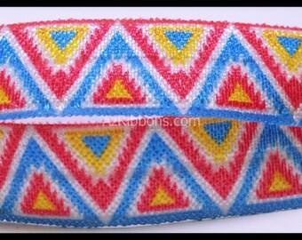 """Geometric Blue Yellow Pink Pattern Colorful Print FOE Ribbon 5/8"""" Hair Bow AZ403"""