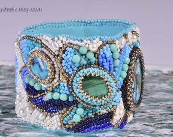 Seed Bead Embroidery Bracelet For Women Gemstone Bracelet