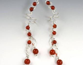 Ear Cuff Earrings - Sterling Silver Gemstone Ear Cuffs - Available in 10 Gemstone Colors - Silver Ear Cuff - Gemstone Ear Cuff - Non Pierced